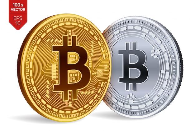 Криптовалюта золотые и серебряные монеты с биткойн наличными символом и биткойн символ на белом фоне. Бесплатные векторы