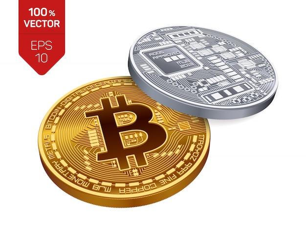 Криптовалюта золотые и серебряные монеты с биткойн символом, изолированные на белом фоне. Бесплатные векторы