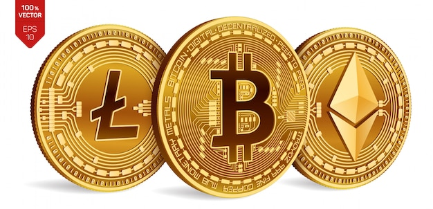 Криптовалюта золотые монеты с биткойн, litecoin и символом ethereum на белом фоне. Бесплатные векторы