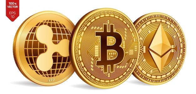 Криптовалюта золотые монеты с биткойн, рябь и символ эфирного на белом фоне. Бесплатные векторы
