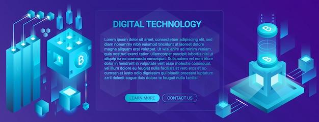 Концепция баннера криптовалюты, ico и блокчейна, центр обработки данных, облачное хранилище данных, иллюстрация технологии. Premium векторы
