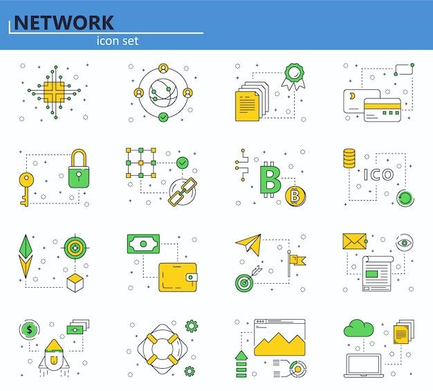 細い線スタイルのブロックチェーン技術とcryptocurrencyアイコンのベクトルを設定します。ビットコイン、エーテル、ico。 webサイトとモバイルwebアプリのアイコン。 Premiumベクター