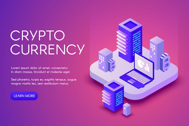 Cryptocurrency illustration poster for bitcoin crypto currency mining and blockchain. Free Vector