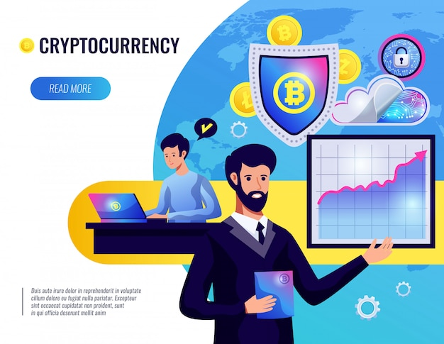 Cryptocurrency  illustration Free Vector