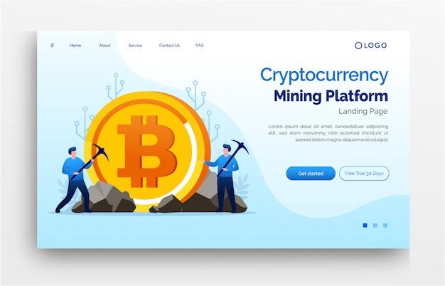 Криптовалюта инвестиционная целевая страница шаблон сайта баннер Premium векторы