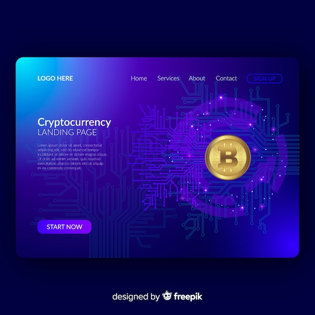 Cryptocurrency landing page Free Vector