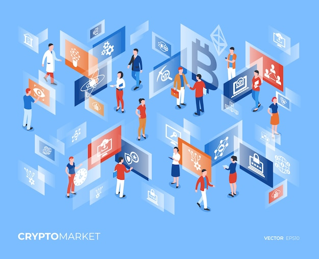 Cryptocurrency market technology characters infographics Premium Vector