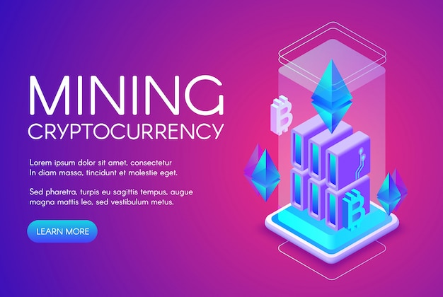 Cryptocurrency mining illustration of blockchain farm for