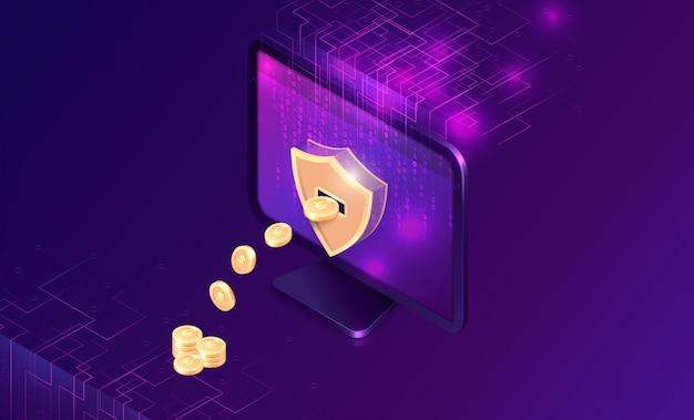 Майнинг криптовалюты изометрический Бесплатные векторы
