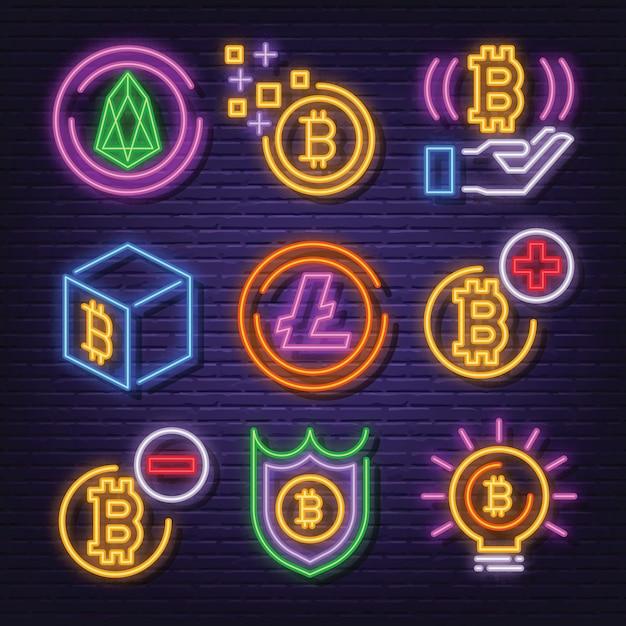 Cryptocurrency neon icon set Premium Vector