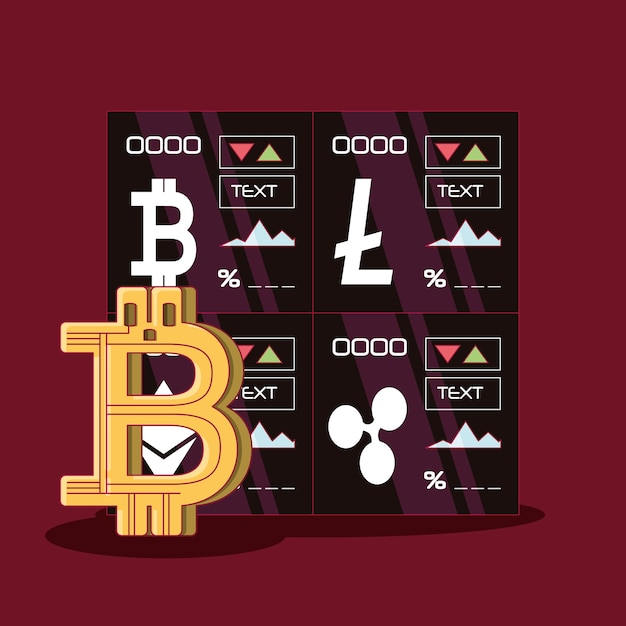 Cryptocurrency Stock Market And Bitcoin Symbol Vector Premium Download