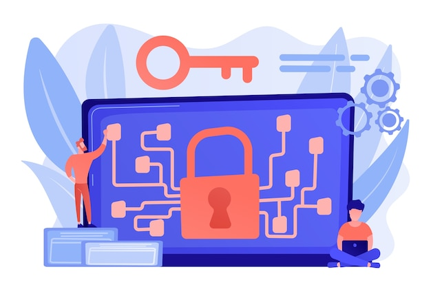 Криптографический специалист и системный администратор создают код алгоритма для владельца ключа блокчейна. концепция криптографии и алгоритма шифрования Бесплатные векторы
