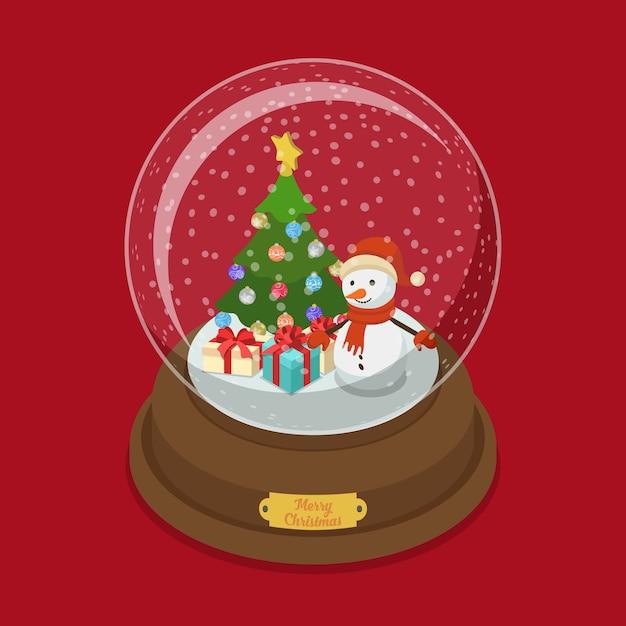 수정 구슬 메리 크리스마스 평면 아이 소메 트리 아이소 메트릭 웹 그림 눈 장식 전나무 트리 눈사람 선물 상자 겨울 휴가 엽서 배너 서식 파일 프리미엄 벡터