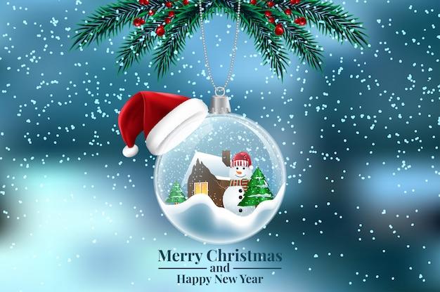 Snowy Christmas.Crystal Ball Snowball With Snowy Christmas Tree Spruce