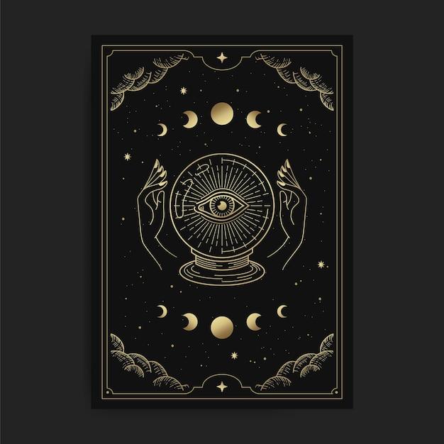 Хрустальный шар с одним светящимся глазом, удерживаемый двумя руками в карте таро, украшенный золотыми облаками, круговорот луны, космическое пространство и множество звезд Premium векторы