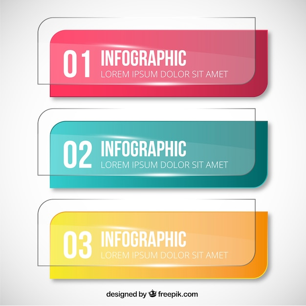 Crystal banners for infographic Free Vector
