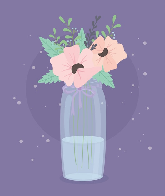 Crystal bottle with flowers and leafs decoration Premium Vector