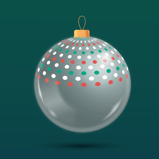Crystal christmas ball ornament Free Vector