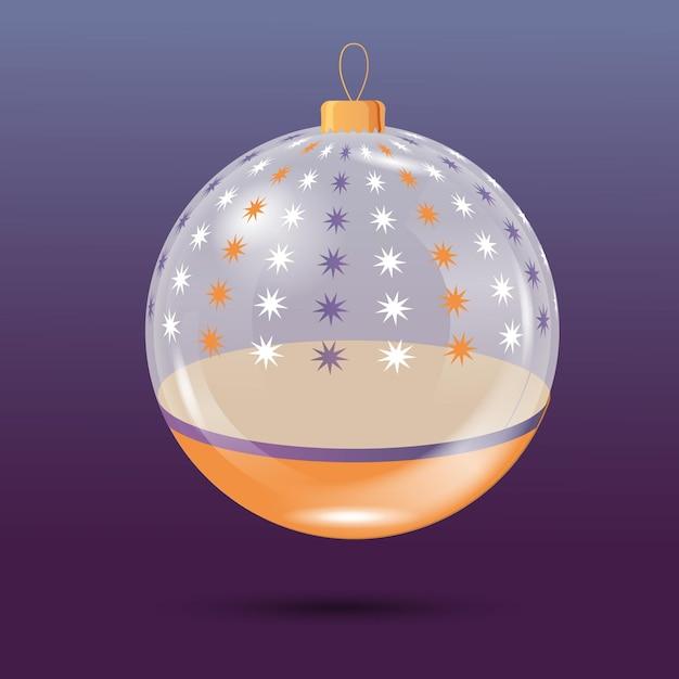 Crystal christmas ball ornament Free Vector