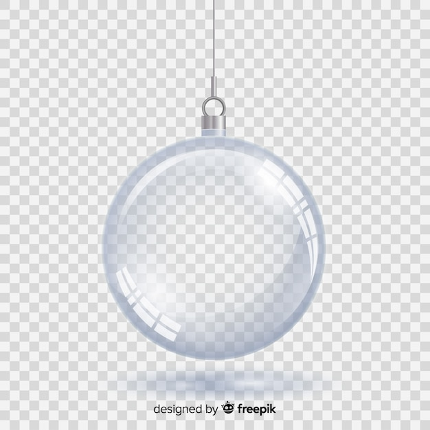 Crystal christmas ball with transparent background Free Vector