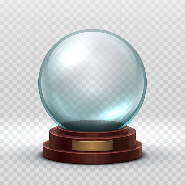 Crystal glass empty ball. magic xmas holiday snow ball isolated. Premium Vector