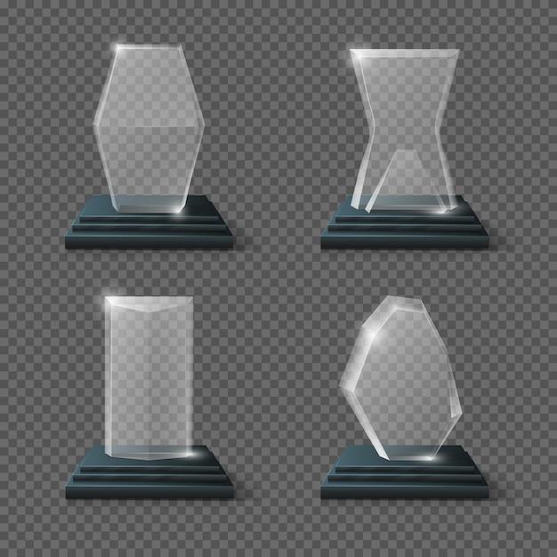 Crystal glass trophy winning business awards set. prize for sport winner illustration Premium Vector
