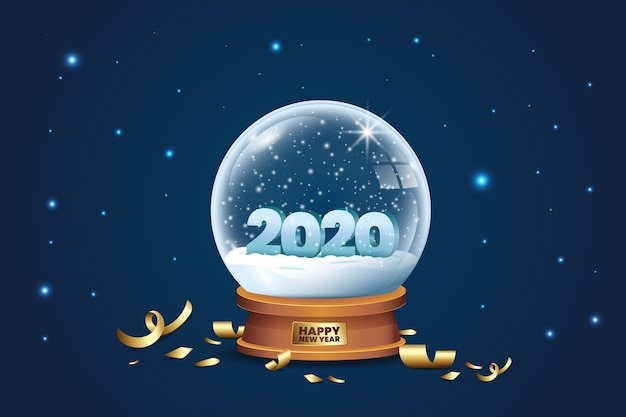 Crystal globe with snow and confetti for 2020 new year Free Vector