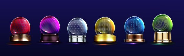 Crystal globes, snow balls on metal stands. vector realistic set of glass magic spheres with different patterns Free Vector