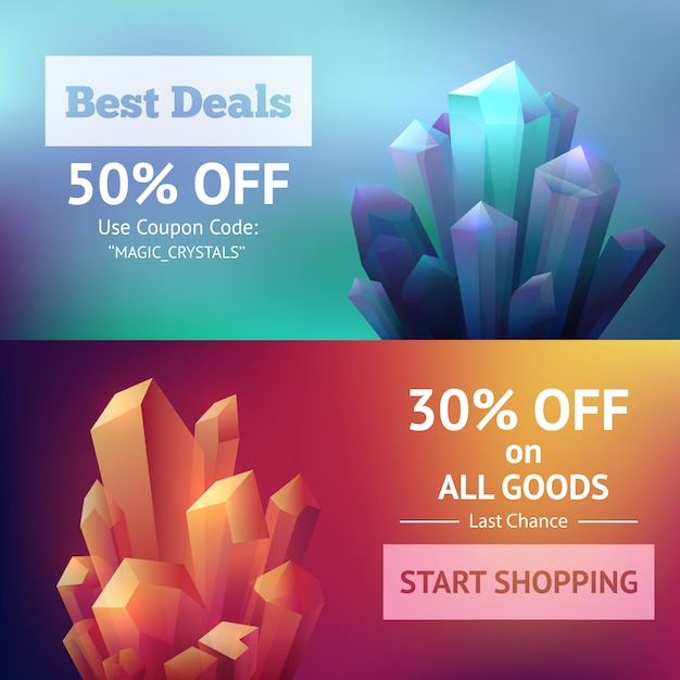 Crystal mineral banners Free Vector