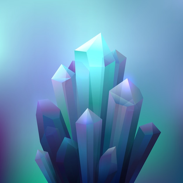 Crystal minerals background Free Vector