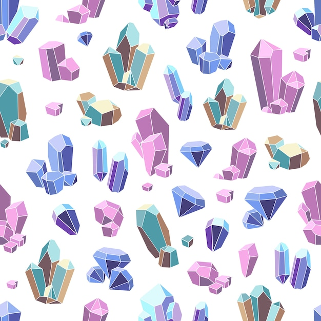 Crystal minerals seamless pattern Free Vector