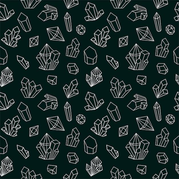 Кристалл бесшовные модели с иконами линии драгоценного камня. черно-белый стиль алмазов фон. Premium векторы