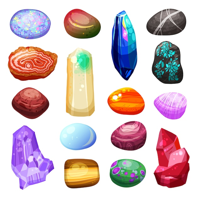 Crystal stone rocks icons set Free Vector