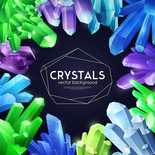 Crystals colorful realistic background Free Vector