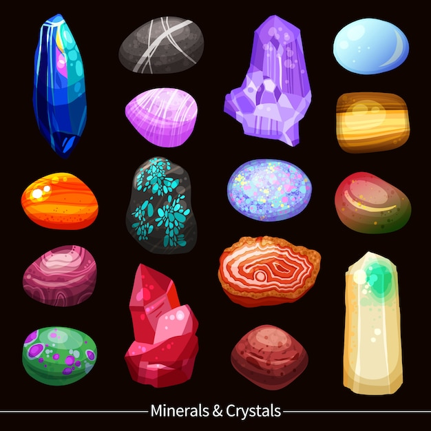 Crystals stones and rocks set background Free Vector