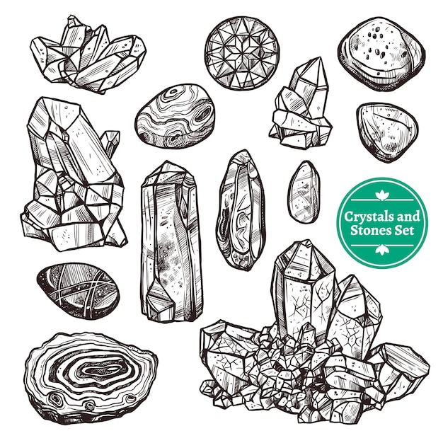 Crystals and stones set Free Vector