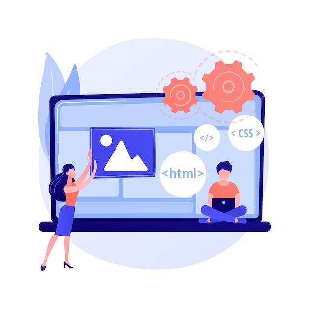 Linguaggi di programmazione css e html. programmazione informatica, codifica, informatica. personaggio dei cartoni animati di programmatore femminile. software, sviluppo di siti web. Vettore gratuito