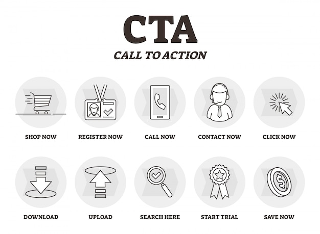 Cta or call to action educational marketing outline diagram Premium Vector