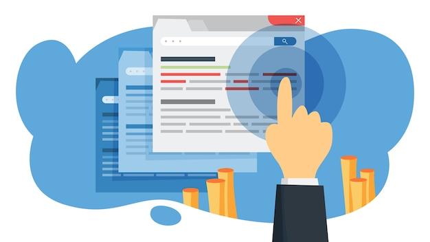 Ctr аббревиатура от ctr. интернет-кампания и маркетинговая стратегия. реклама с баннером на веб-странице. иллюстрация Premium векторы