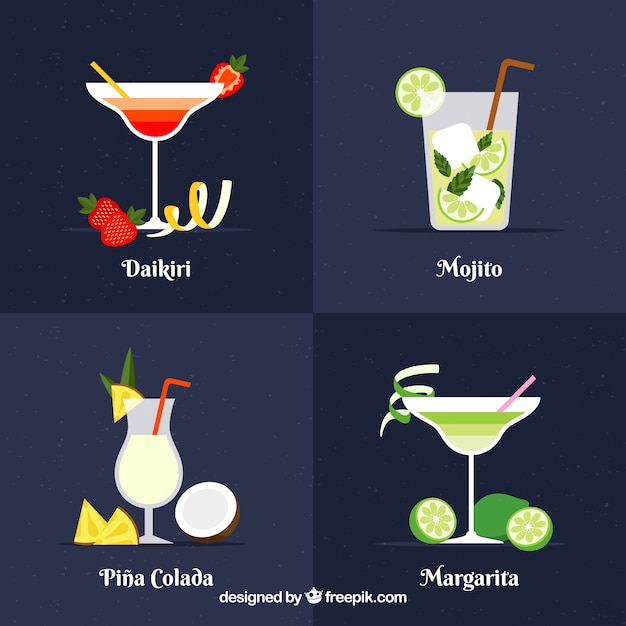 Cuatro bebidasexóticas Premiumベクター