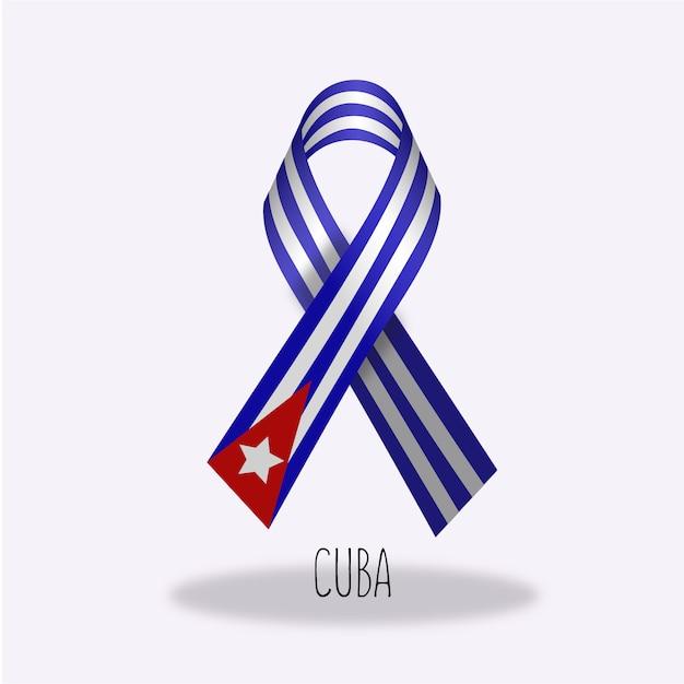 Cuba Flag Ribbon Design Free Vector
