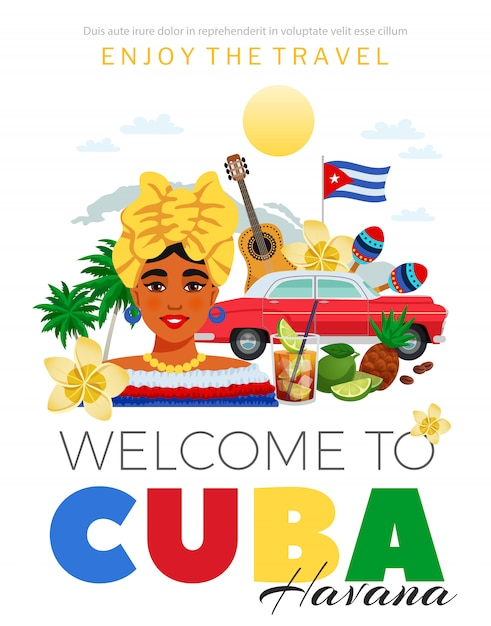 Cuba e l'avana poster di viaggio Vettore gratuito