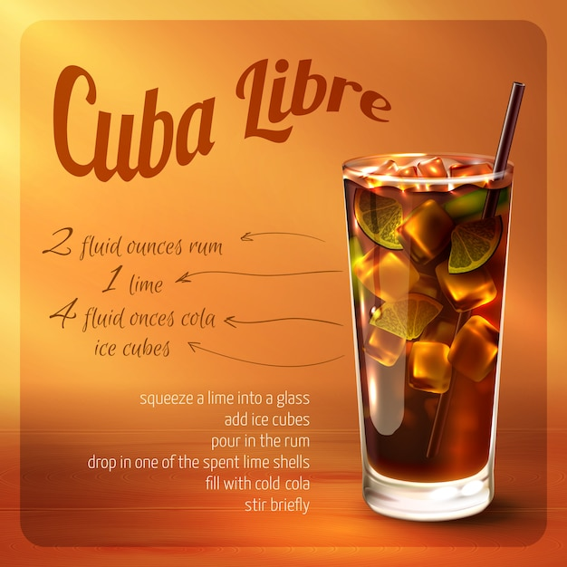 Cuba libre cocktail recipe Free Vector