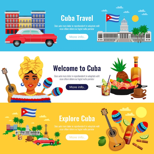 Cuba travel horizontal banners set with landmarks elements flat isolated vector illustration Free Vector