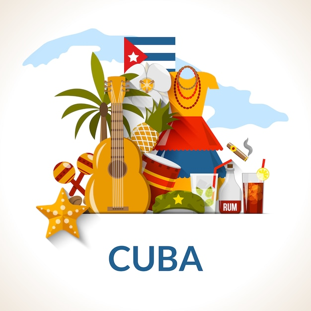 Cuban national symbols composition poster print Free Vector