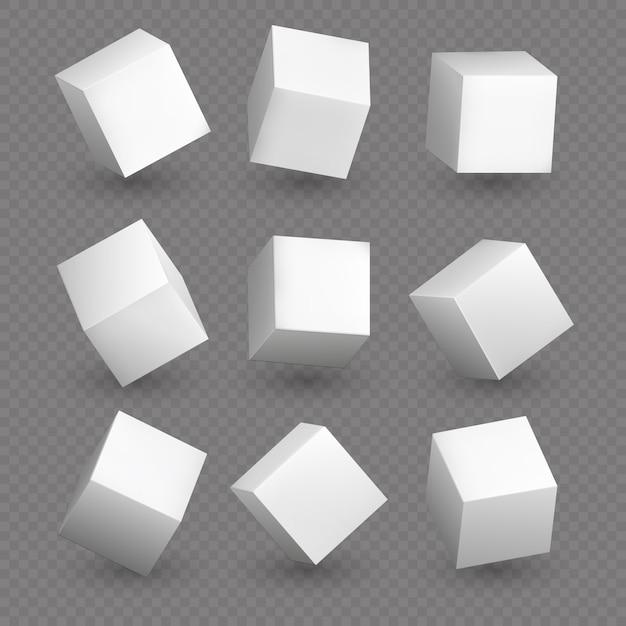 3d модель куба в перспективе. реалистичные белые пустые кубики с изолированными тенями Premium векторы