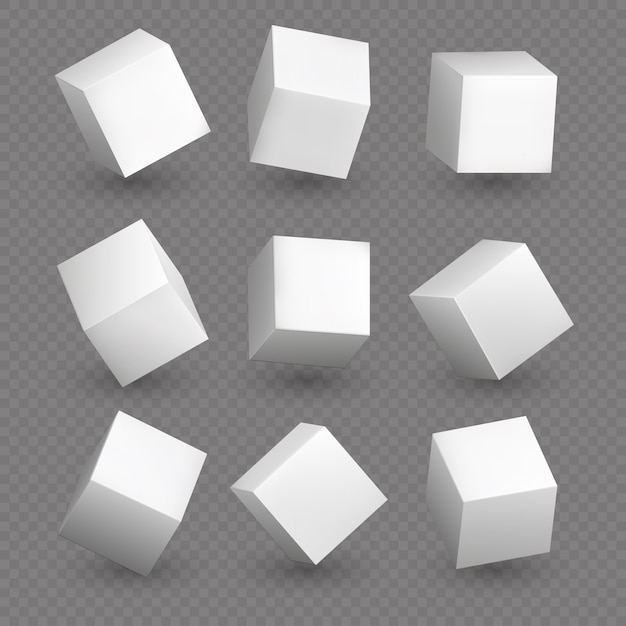 Cube 3d models in perspective. realistic white blank cubes with shadows isolated Premium Vector