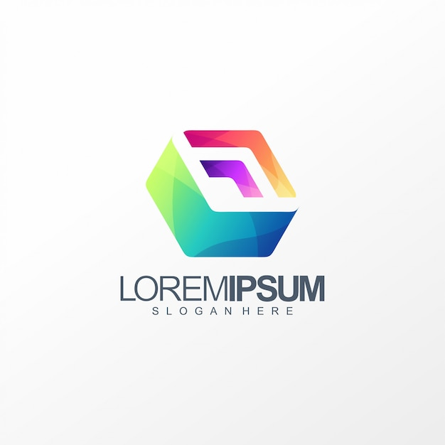 Cube box logo design Premium Vector