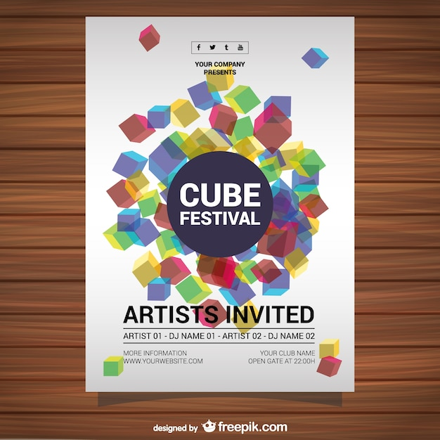Cube festival poster Free Vector