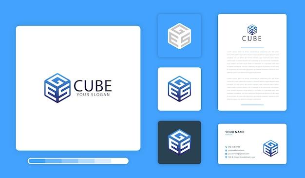 Cube logo design template Premium Vector
